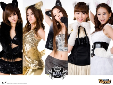 Nicole, Gyuri, Hara, Jiyoung, and Seungyeon...being cats.A cat is fine too.
